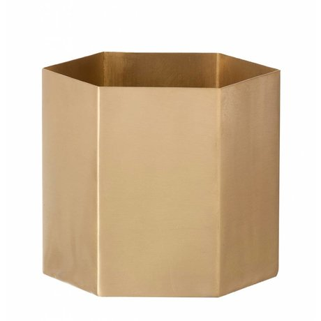 Ferm Living Hexagon gold brass pot Ø10x9cm- Small