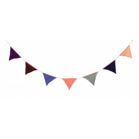 Ferm Living Garland 240cm knitted multicolor / olive green acrylic 'Happy Flags - Olive'