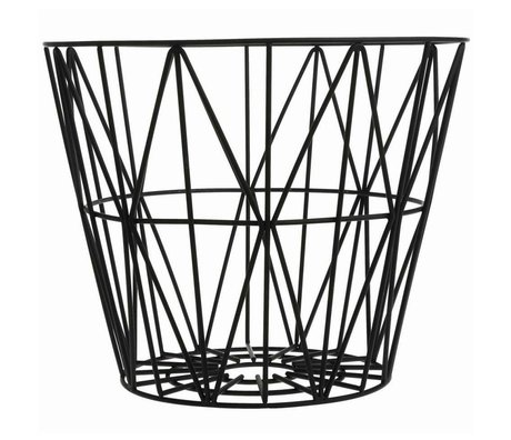Ferm Living Mand zwart ijzer 3 maten 40x35cm,50x40cm,60x45cm Wire Basket