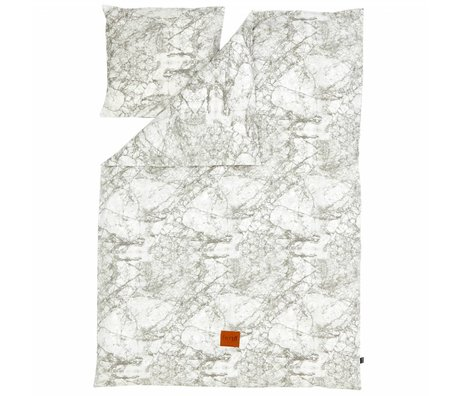 Ferm Living Duvet Marble gray / white cotton 140x200 cm -Adult