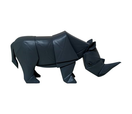 HK-living Rhino geo wood black 35x10x16cm
