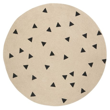 Ferm Living Rug Triangle round natural black ø100cm