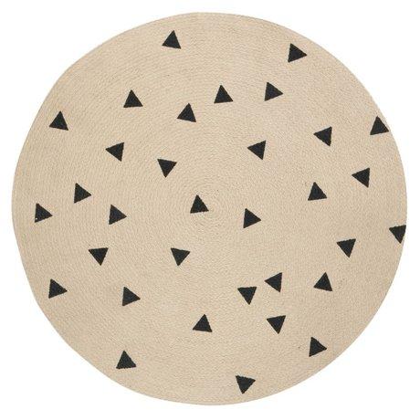 Ferm Living Vloerkleed Triangle rond naturel zwart ø100cm