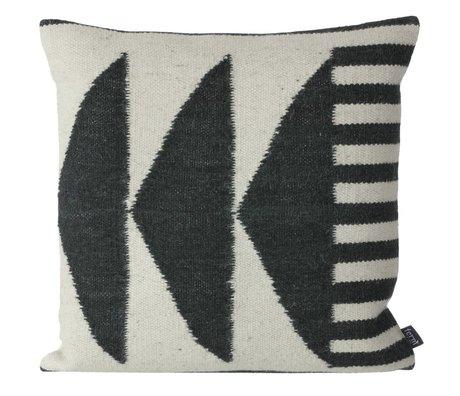 Ferm Living Kelim-Kissen Schwarze Dreiecke schwarz grau 50x50cm