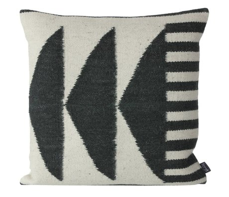 Ferm Living Throw pillow Kelim Black Triangles black gray 50x50cm