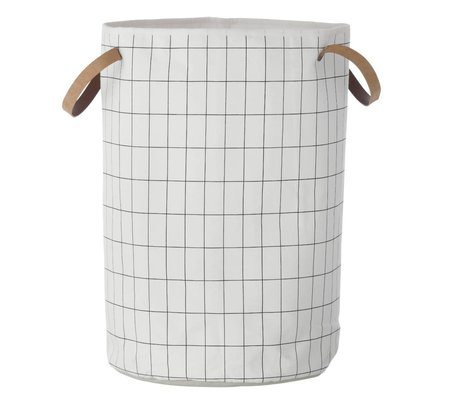 Ferm Living Wasmand Grid Basket zwart wit 40x60cm