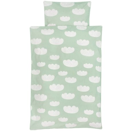 Ferm Living Dekbedovertrek Cloud wolken mintgroen katoen 70x100 cm -Baby