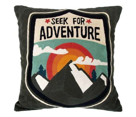Storebror Cushion Seek for adventure embroidered cotton 50x50cm