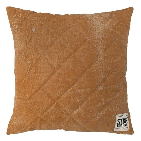 Storebror Cushion Leather Quilted brown 43x43cm