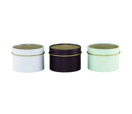 Housedoctor Cans Pernilla set of three white eggplant and mint ø6,3x4,5cm
