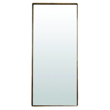 Housedoctor Mirror reflektion antique brass gold colored metal 80x35x4cm