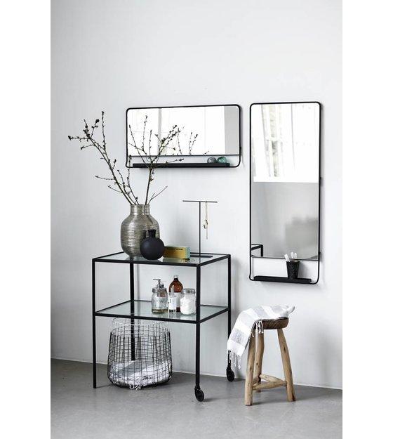 housedoctor spiegel chiq met plank zwart metaal 45x110cm. Black Bedroom Furniture Sets. Home Design Ideas