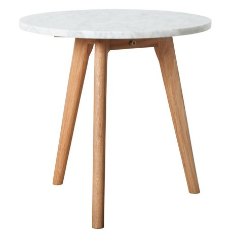 Zuiver Beistelltisch aus weißem Marmor aus weißem Stein mittelgrau Ø40x40cm