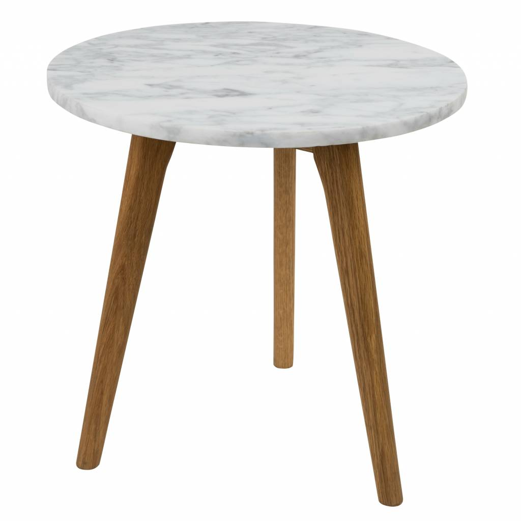 Zuiver occasional table white marble white stone medium gray 40x40cm wonen met lef for Table zuiver