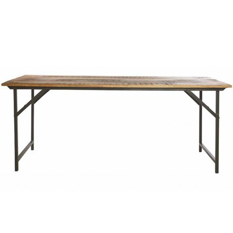 Housedoctor Esstisch 'Party' grau Metall / Holz braun 180x80x74 cm