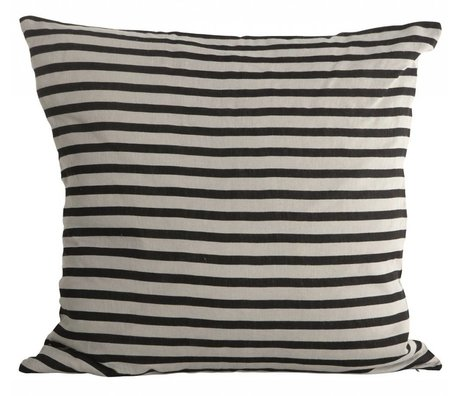 Housedoctor Cushion cover Stripes black gray linen 50x50cm