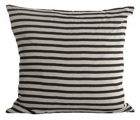 Housedoctor Kissenhülle Stripes schwarz grau Leinwand 50x50cm
