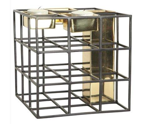 Housedoctor Vaas waxinelichthouder SQ metaal zwart goud 17,5x17,5cm