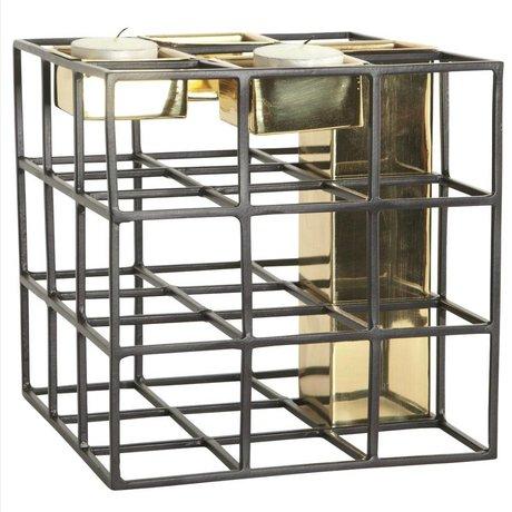 Housedoctor SQ Vase Kerzenhalter Metall schwarze Gold 17,5x17,5cm