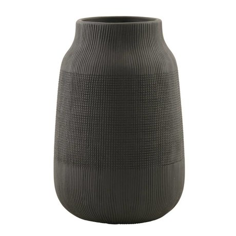 Housedoctor Groove black pottery vase ø15x22cm