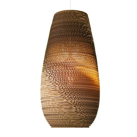 Graypants Drop pendant light 18 brown cardboard Ø25x45cm