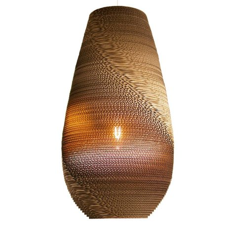 Graypants Drop pendant light 26 brown cardboard Ø36x65cm