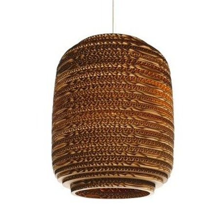 Graypants Hanging lamp Ausi 8 brown cardboard Ø19x24cm