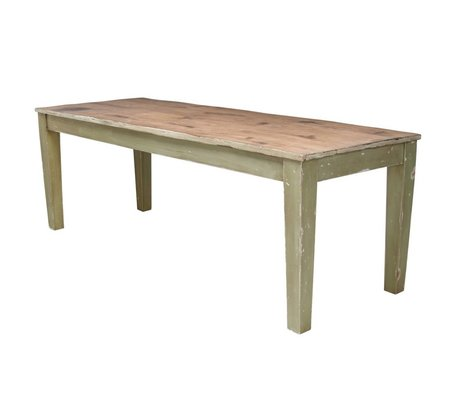 Storebror Rustic wood dining table with green table legs 220x80x77cm