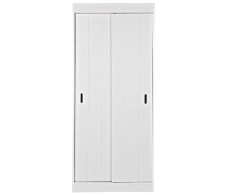 LEF collections Row cabinet shelves with sliding doors white pine 85x44x195cm