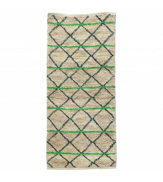 housedoctor vloerkleed green geometry groen zwart beige jute 90x200cm. Black Bedroom Furniture Sets. Home Design Ideas