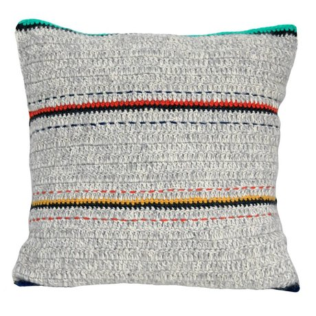 Storebror Cushion gray with stripes and fringed wool 50x50cm