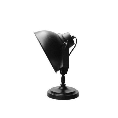 LEF collections Table Lamp Urban matt black metal wood Ø20cm