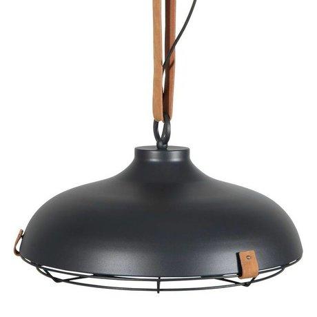 Zuiver Hanglamp Dek 51 antraciet bruin metaal leer Ø51x22cm