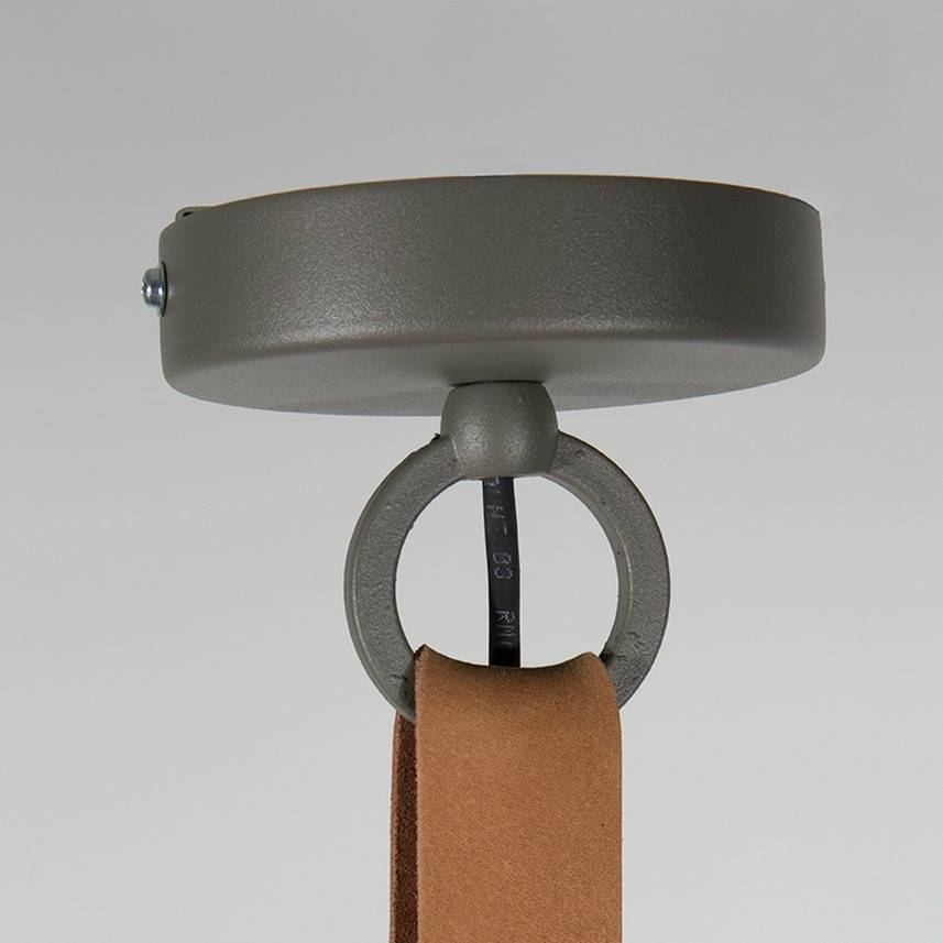 Zuiver hanglamp dek 51 grijs bruin metaal leer 51x22cm - Zetel leer metaal ...