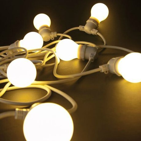 Seletti Licht ketting met 10 light bulbs rubber wit L14,2m