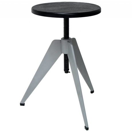 HK-living Industrial stool with gray metal frame and black bamboo leaf 40x40x40-57cm