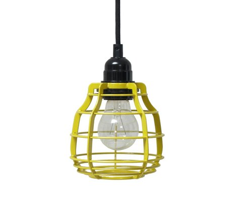 HK-living Hanging lamp LAB chartreuse yellow metal with shuttle ø13x13x17cm