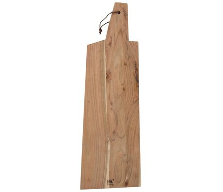 HK-living Breadboard acacia wood with leather string XXL 84x28x1,5cm