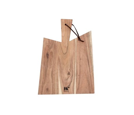HK-living Breadboard acacia wood with leather string XL 44x32x1,5cm