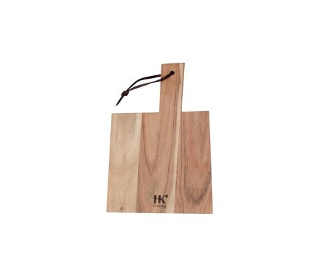 HK-living Breadboard acacia wood with leather string L 34x23x1,5cm