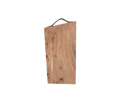 HK-living Breadboard acacia wood with leather strap M 40x20x1,5cm