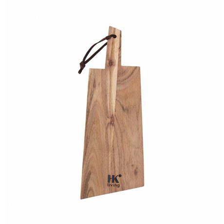 HK-living Breadboard acacia wood with leather string 41x14,5x1,5cm