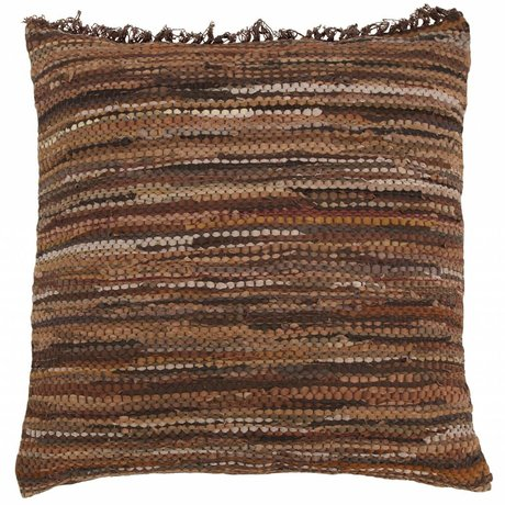 HK-living Cushion floor cushion recycled brown leather 80x80cm