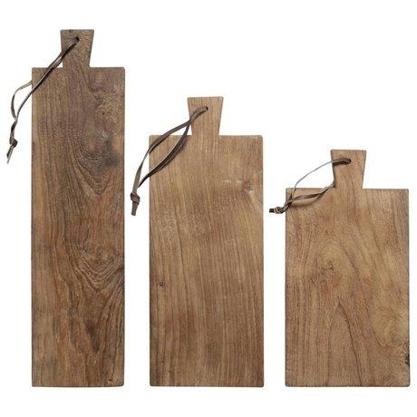 HK-living Broodplanken teakhout gerecycled, set van 3 planken