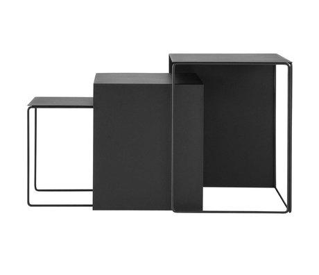 Ferm Living Cluster ensemble de trois métal noir de table de café