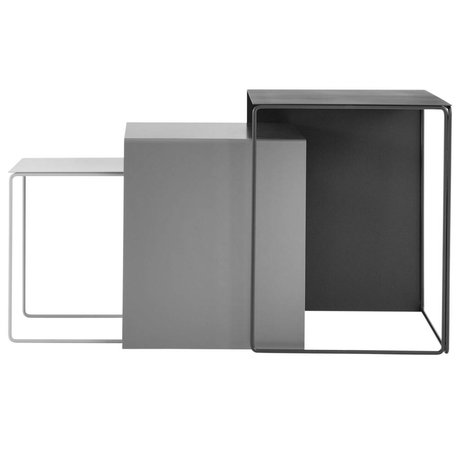 Ferm Living Cluster coffee table set of three gray metal