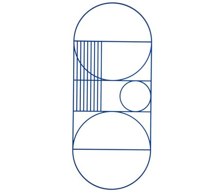 Ferm Living Poster object MDF Outline wall ovaal blauw 30x71cm