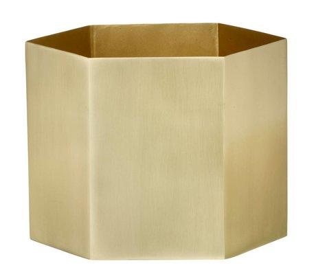 Ferm Living Hexagon gold brass pot Ø18x16cm- Extra Large