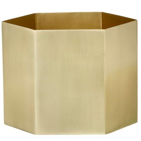 Ferm Living Hexagon Goldmessingtopf Ø18x16cm- Extra Large