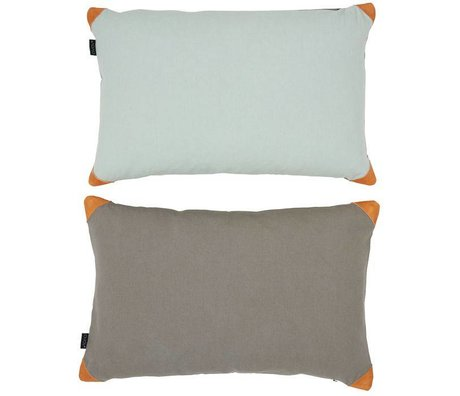 OYOY Throw Pillow RETRO AQUA STONE blue gray cotton canvas 40x60m